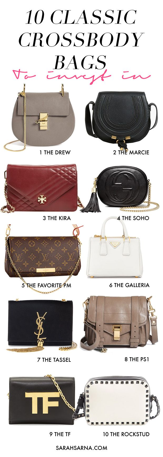 10 Classic Crossbody Bags to Invest In. Designer favorites from Chloe, Gucci, Louis Vuitton, Tom Ford, Valentino, Saint Laurent, Proenza Schouler, Prada, and more.
