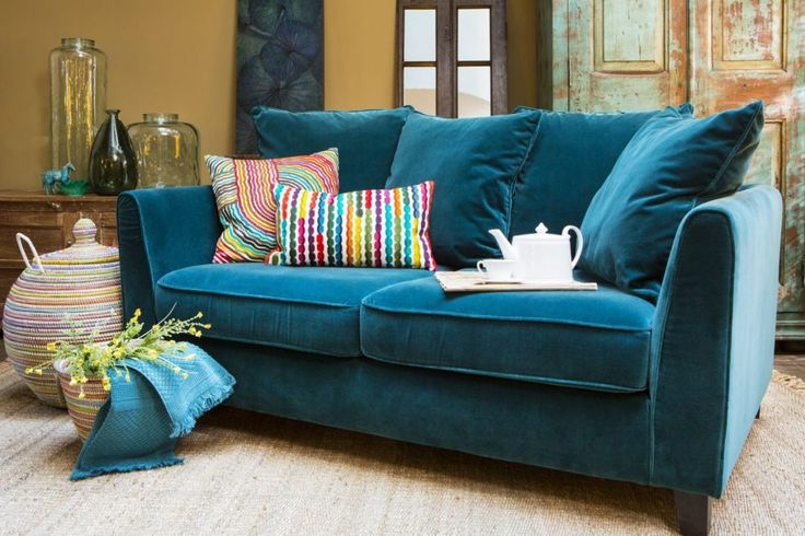 Home spirit blue velvet sofa in the style Chic from Le Patio.