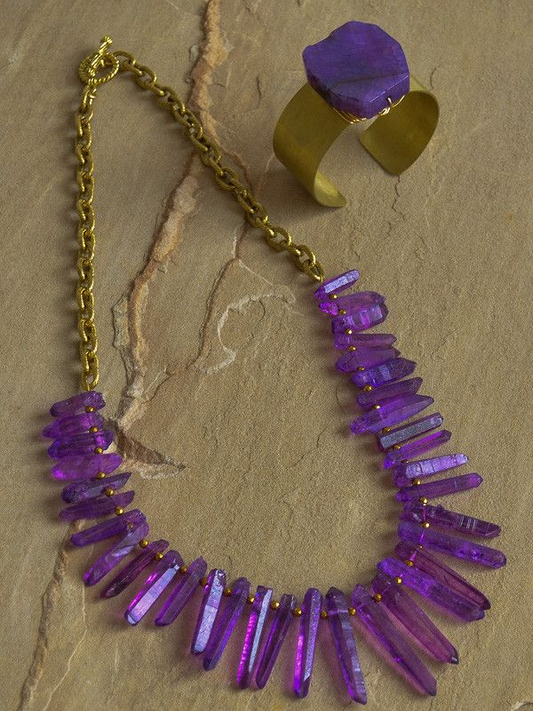 """Ambition"" is a new addition to our 2016 elements collection. Purple quartz stick beads and gold spacers with antique gold. Necklace is approximately 24"" in length. Coordinating cuff and earrings sold"