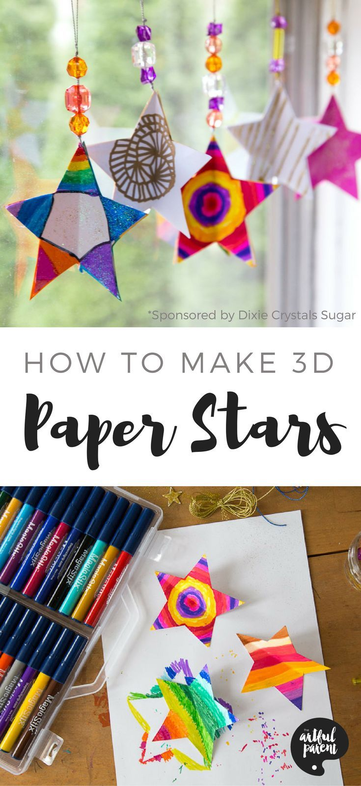 Learn how to make 3D paper star ornaments with this simple tutorial. These paper stars make great Christmas ornaments, decorations, and gifts!