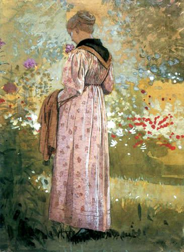⊰ Posing with Posies ⊱ paintings of women and flowers - Winslow Homer, In the Garden