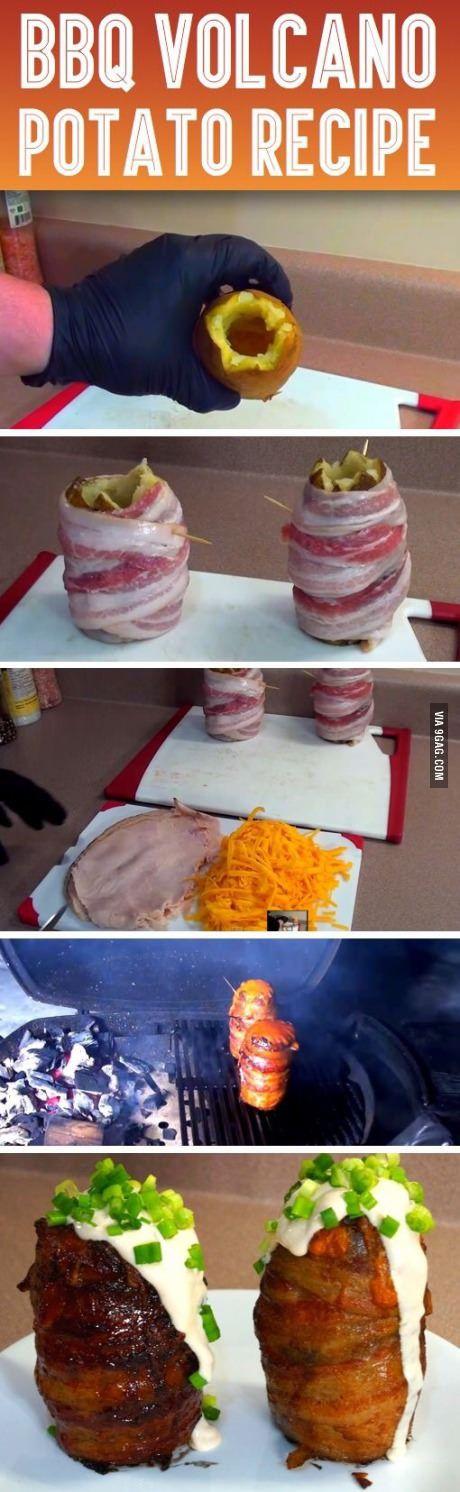 Aardappelen leeghalen, bacon eromheen, vullen met kaas en ham, en in de oven