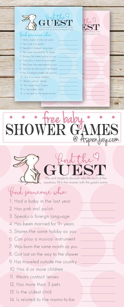 Adorable FREE baby shower FIND THE GUEST game. This is a perfect ice-breaker game. Love this cute little bunny! Definitely PINNING for the next shower I throw!