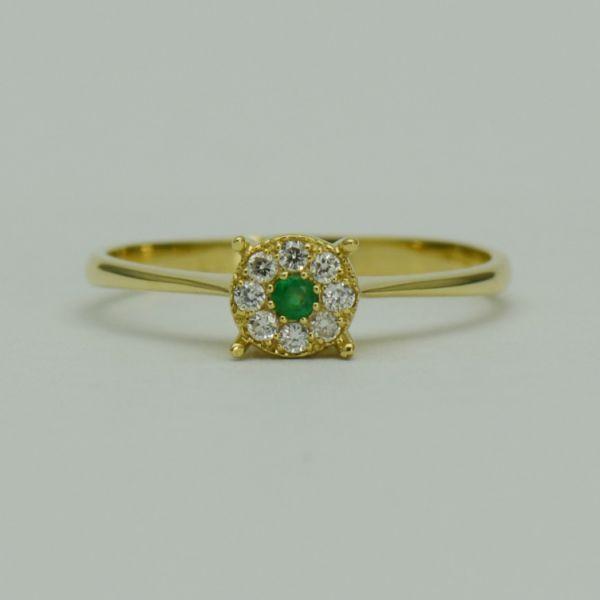 Inel din aur galben cu smarald si diamante