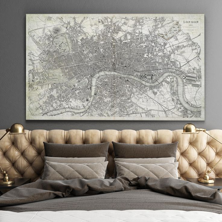 Wexford Home Antique London Map Dusty - Premium Gallery Wrapped Canvas