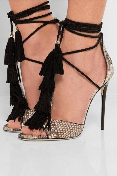 Jimmy Choo | Mindy tasseled python sandals | NET-A-PORTER.COM