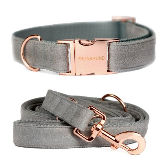 Dog collar CONCRETE with rose gold colored hardware by PRUNKHUND