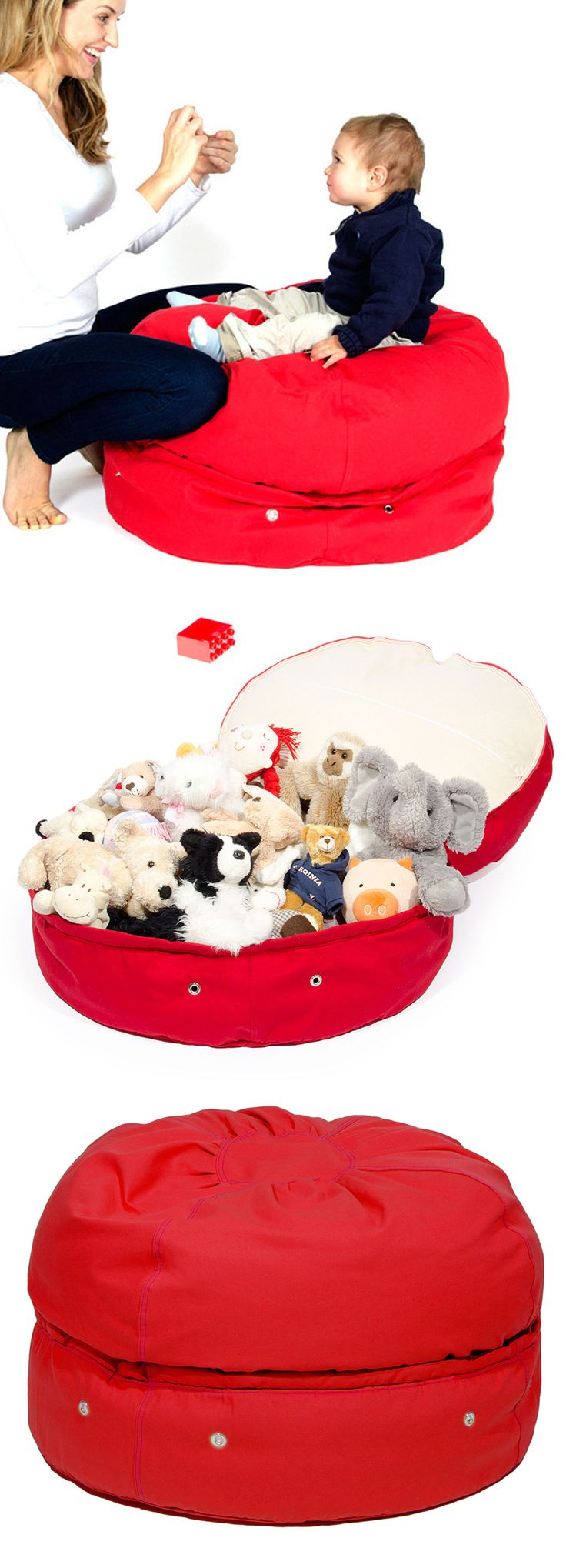 Red storage bean bag // great idea for all those soft toys, or spare bed linen! #product_design