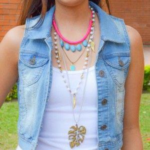 Collar Hoja Largo www.dulceecanto.com , Tienda online de accesorios para mujer