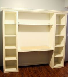 "How to build your own ""built-in"" desk from Ikea Billy Bookcases! Make the desk even with the second shelf so you could extend the desk out and use the shelves under the desk as well"