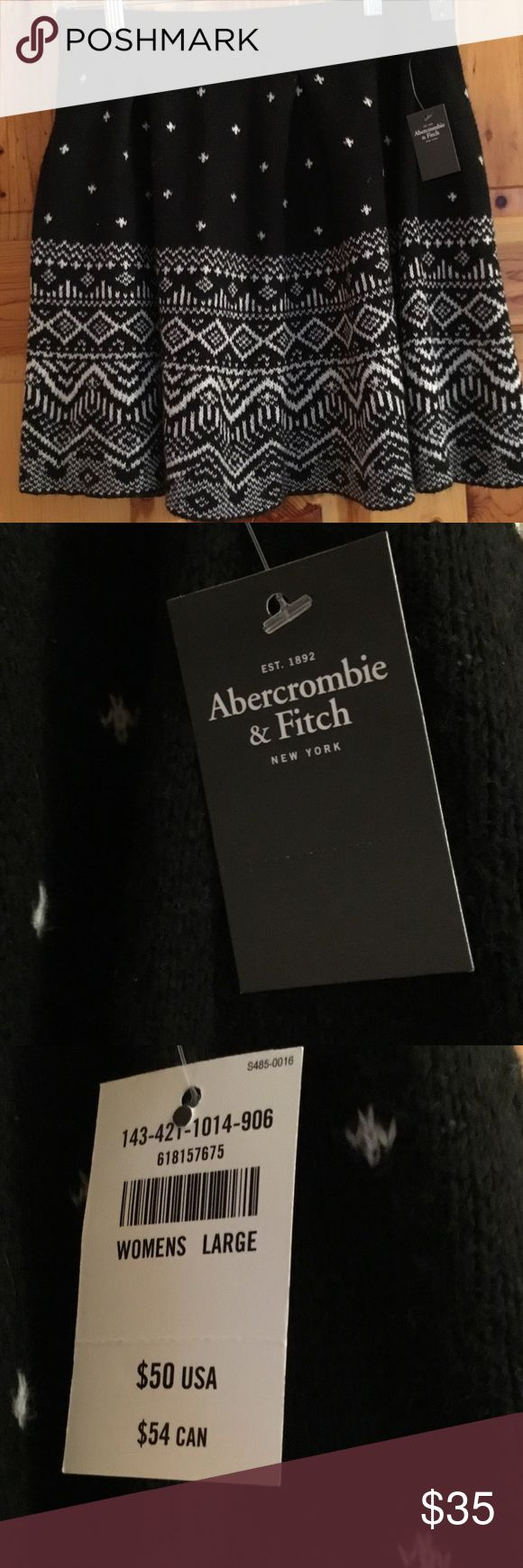 WEEKEND SALE NWT $50 ABERCROMBIE AND FITCH SKIRT BRAND NEW WITH TAGS ADORABLE ABERCROMBIE AND FITCH SWEATER SKIRT. FAIR ISLE DESIGN. This will be perfect with cable knit tights and a cardigan. Great for a Holiday Party! Never worn in MINT CONDITION. FROM MY CLEAN NON SMOKING HOME. Check out my other items as I am cleaning out closets and listing a lot of good stuff! Thanks for looking. I do bundle. Abercrombie & Fitch Skirts
