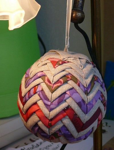 Styrofoam balls, straight pins and fabric scraps make these lovely ornaments