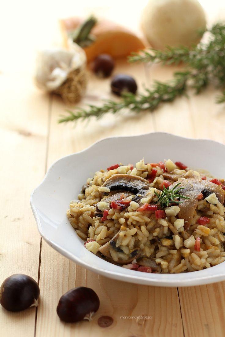 risotto castagne e funghi con crema di zucca