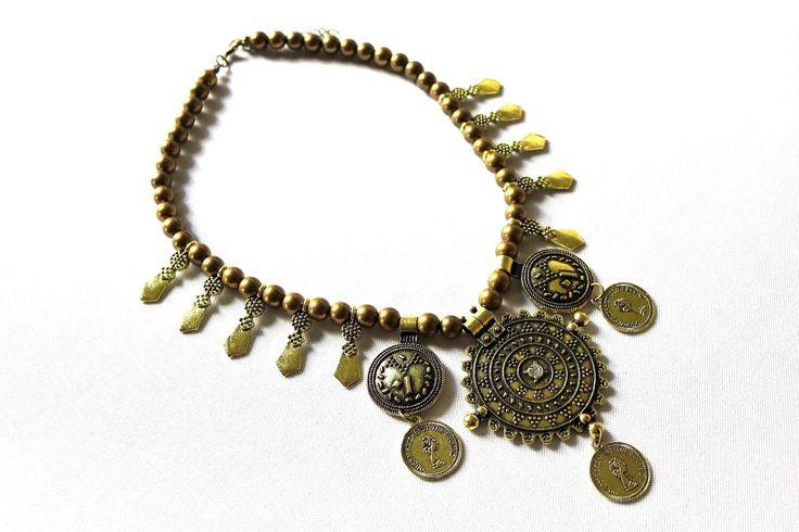 Gold Necklace Choker Fashion Jewelry Vintage Jewelry Boho Necklace Pendant