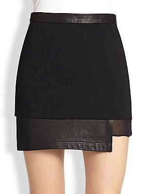 Alice + Olivia Andra Leather & Silk-Trimmed Mini Skirt