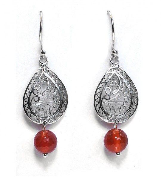 Carnelian embellished mesh earrings