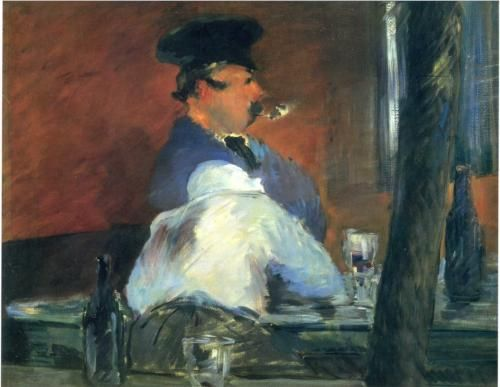 """In the bar """"Le Bouchon"""" - Edouard Manet"""