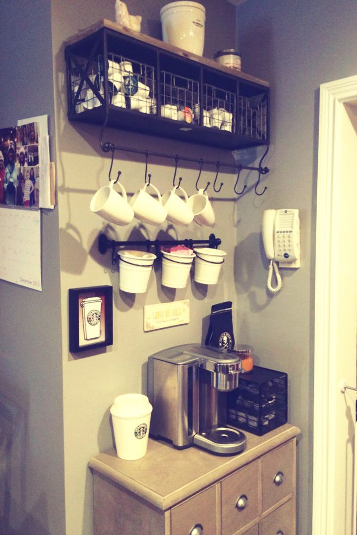 DIY corner coffee station idea for your kitchen - lots more DIY coffee station ideas on this page.