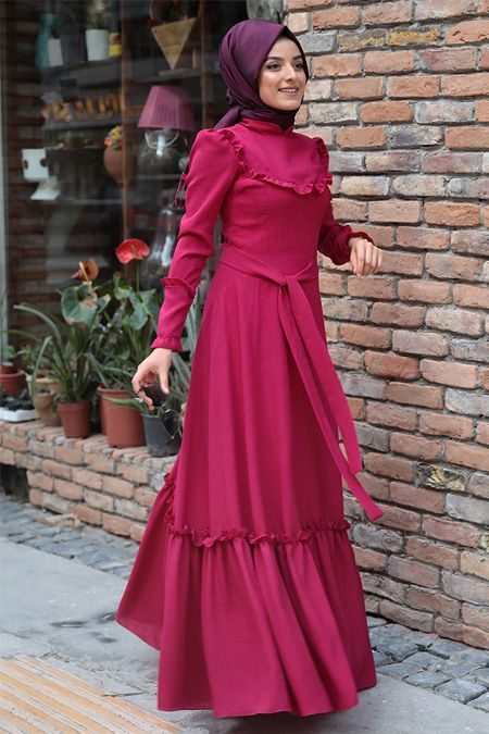 096ae7a9b01ba Zehrace Açık Fuşya Emma Fırfırlı Elbise   Pretty modest ...