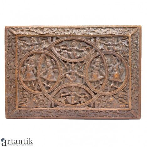 Caseta pentru bijuterii sau tigarete- VISNU -  lemn de santal - Bristish Raj    antichitati tabaco, cutie trabucuri