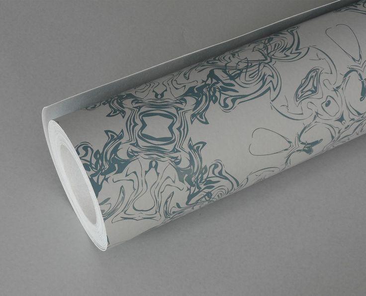 Detail - sea blue & dove grey wallpaper