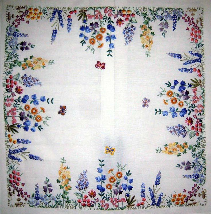 """Spring tea cloth embroidered by Margaret Cobleigh. It's a kit from Anchor, entitled """"Spring."""""""