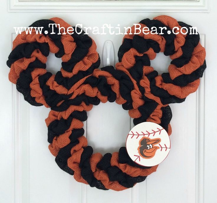 Baltimore Orioles Mickey Mouse wreath - Burlap wreath - Mickey mouse wreath - Baltimore Orioles wreath - Orioles wreath - Baltimore by TheCraftinBear on Etsy https://www.etsy.com/listing/250113409/baltimore-orioles-mickey-mouse-wreath