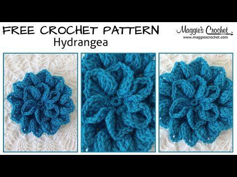 Hydrangea Free Crochet Pattern - Right Handed - YouTube - Maggie's Crochet
