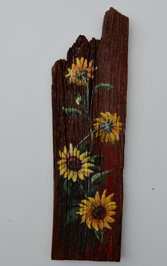 Sunflowers painted on antique barn wood.  Love this. Sunflowers Painted on Barn Wood on Etsy, $67.00