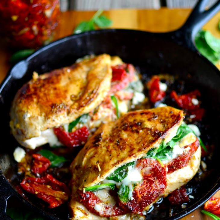 Sundried Tomato, Spinach, and Cheese Stuffed Chicken Recipe Main Dishes with chicken breasts, Kraft Sun Dried Tomato Vinaigrette, sun-dried tomatoes, spinach, feta cheese, mozzarella cheese