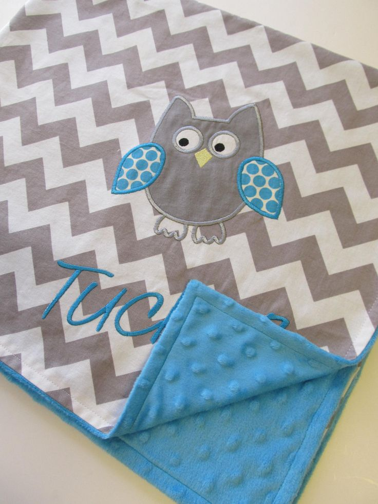 Personalized Baby Blanket 30x35- Aqua Minky Blanket-  Chevron Baby Blanket- Applique Baby Blanket- Owl Baby Blanket- Design Your Own Blanket. $43.00, via Etsy.