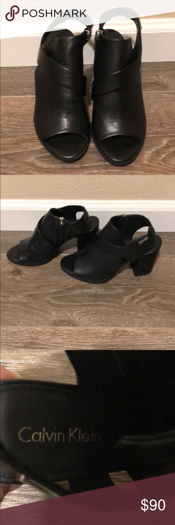 Calvin Klein peep toe black leather booties! Never worn super cute black leather booties for sale! Needs a new home never worn cleaning out my shoe closet! calvin klein Shoes Ankle Boots & Booties