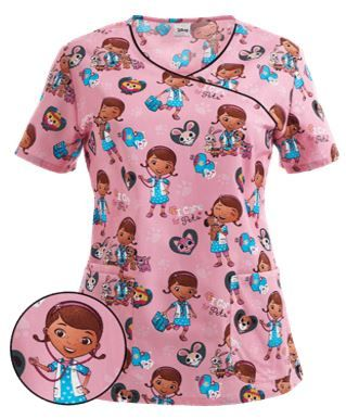 Cherokee Tooniforms Scrubs I Care For Pets Print Top Style # CK6784DI…