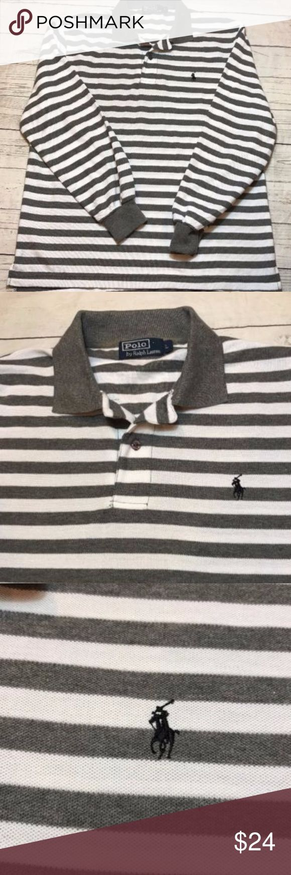 "Polo-Ralph-Lauren-Shirt-Men-Long Sleeve Polo Gray Shirt in excellent condition. Gray/white striped with black pony Logo. Men's Large.  Chest: 21""  Length: 27""  Thanks for looking!  A Polo by Ralph Lauren Shirts Polos"