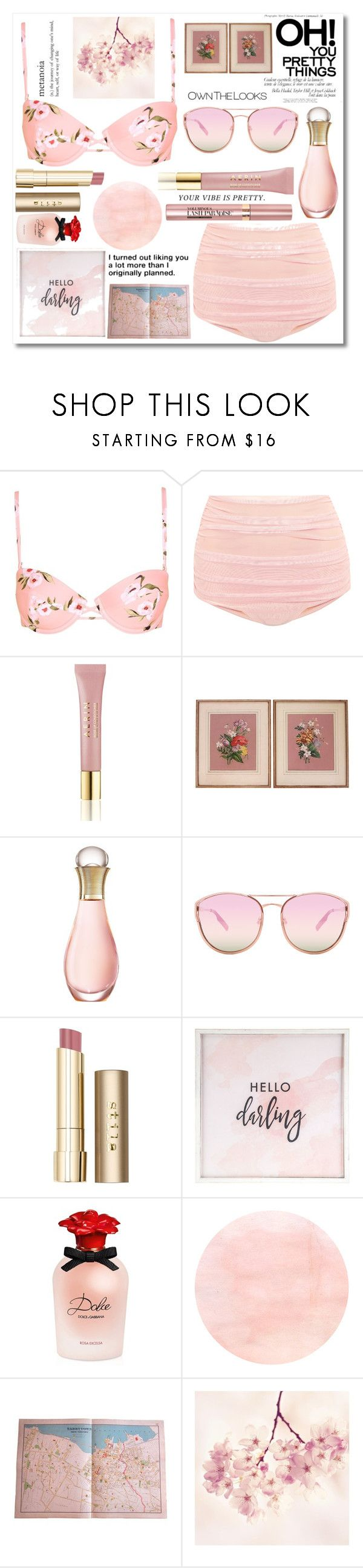 """""""Bathing Suit - Nude Pink"""" by rose-chan-needs-a-life ❤ liked on Polyvore featuring Topshop, Norma Kamali, AERIN, Christian Dior, L'Oréal Paris, Quay, Stila, Hello Darling, Dolce&Gabbana and Love Quotes Scarves"""