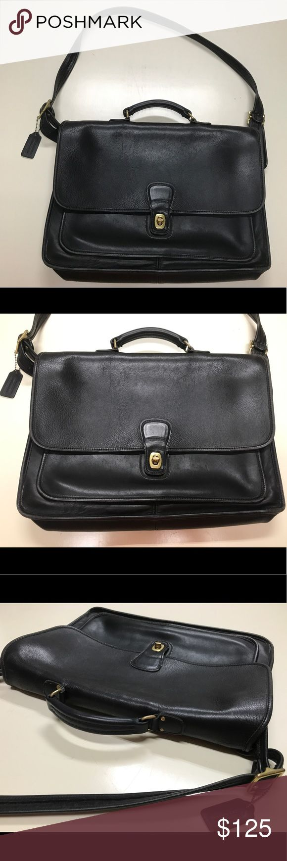 Vintage Coach Black Leather Laptop Bag 5180 Vintage Coach briefcase/laptop bag. Handle and adjustable shoulder strap, turn lock closure, two compartments inside. Clean with no damage.  In very good condition. Smoke free home. Coach Bags