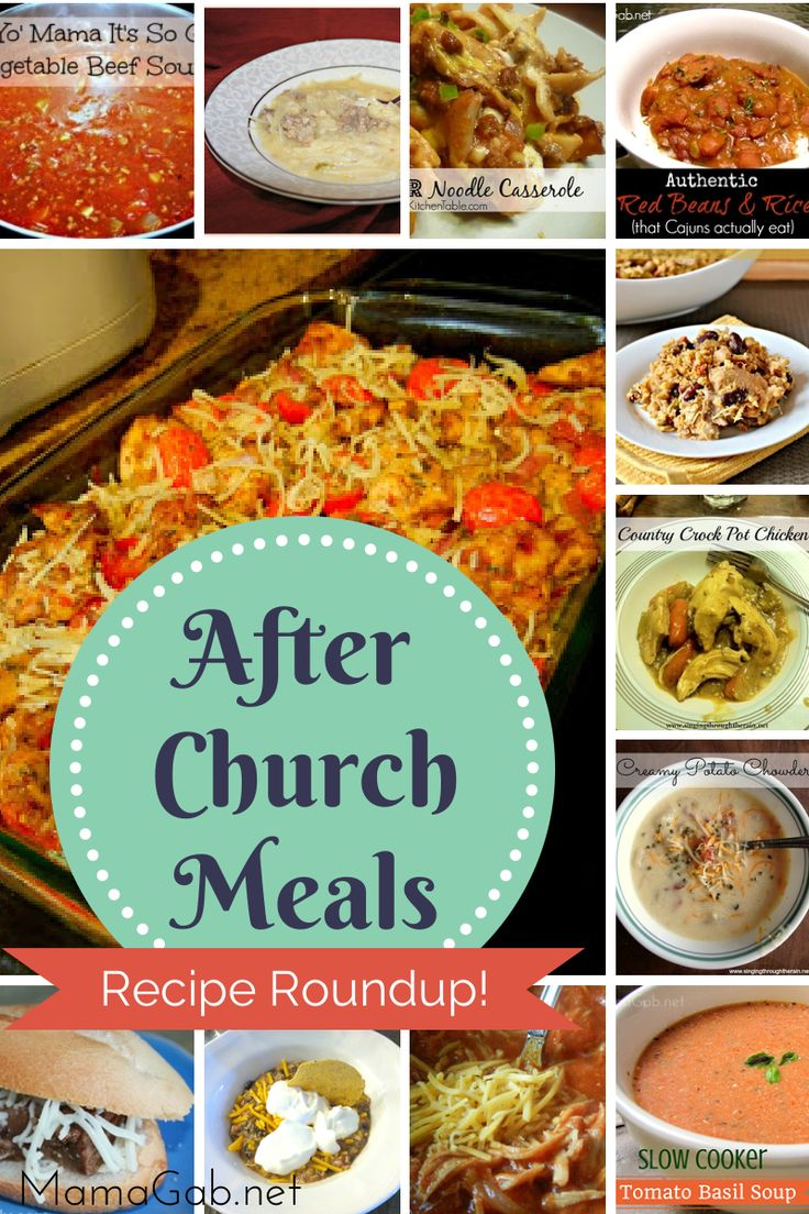 After Church Meals for Sunday – A Recipe Roundup!  Slow cooker dishes and meals that can be prepped in advance.