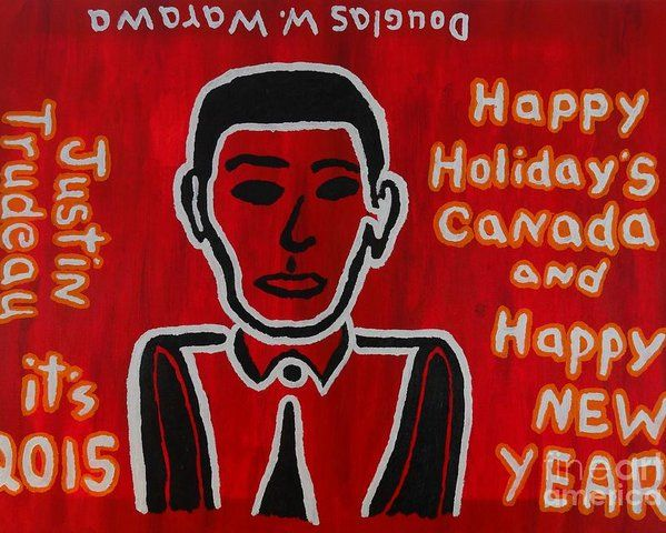 Self Portrait Poster featuring the painting Justin Trudeau Self Portait by Douglas W Warawa