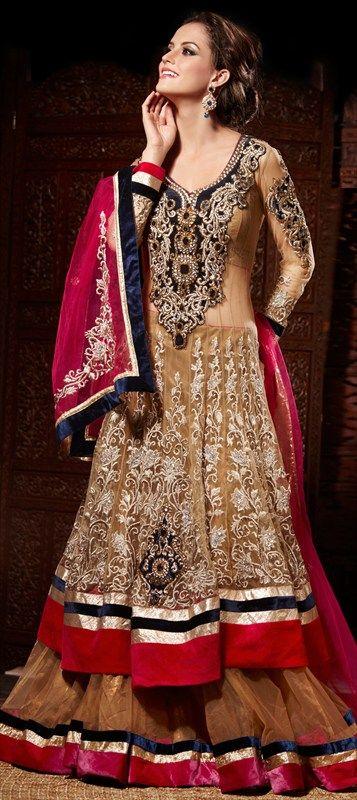118808, Long Lehenga Choli, Net, Machine Embroidery, Resham, Patch, Zari, Thread, Lace, Stone, Beige and Brown Color Family