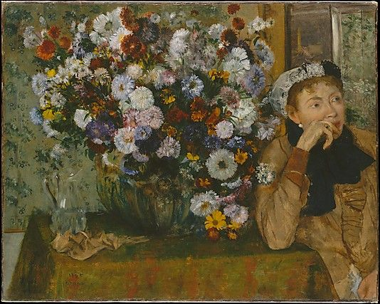 Edgar Degas (French, 1834–1917). A Woman Seated beside a Vase of Flowers (Madame Paul Valpinçon?), 1865. The Metropolitan Museum of Art, New York. H. O. Havemeyer Collection, Bequest of Mrs. H. O. Havemeyer, 1929 (29.100.128) #spring