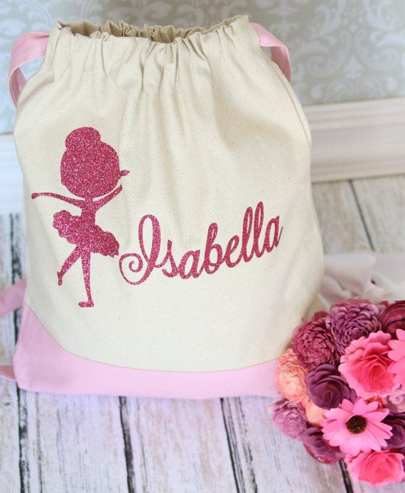 Custom Personalized Dance Pink Ballet Bag Backpack Style Bag Perfect for your budding Ballerina to take to ballet class or competition This large heavy canvas drawstring bag comes with a thick fabric that will hold a heavy load. This bag is ideal to store your ballet outfit and footwear or