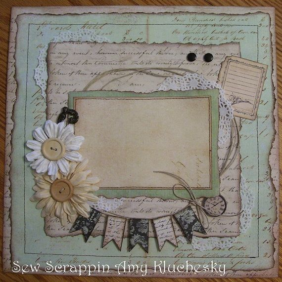 Handmade Scrapbook Layout Vintage Prima Tan and Teal Flower Banner 12x12 Page