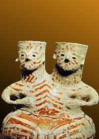 Hacilar, Turkey, 5000 BC, twin goddessed