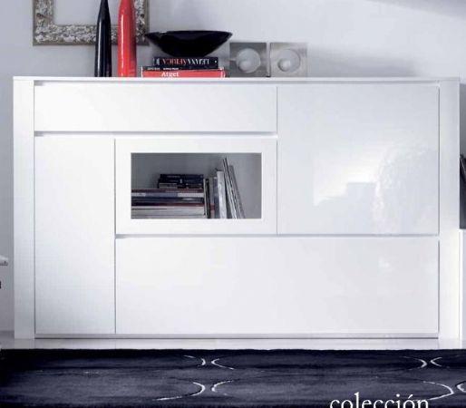 Aparador lacado blanco 11 aparador con cristal for Aparadores modernos