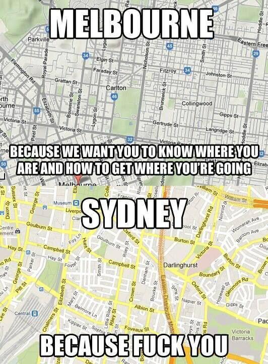 Melbourne vs Sydney; I LOVE MELBOURNE