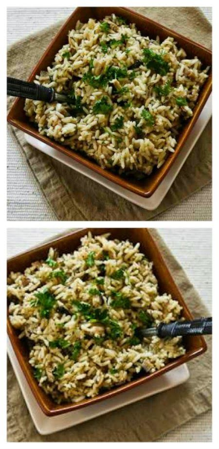 CrockPot Rice with Dried Mushrooms, Herbs, and Parmesan; this is the world's easiest side dish, it cooks unattended while you're busy doing other things.  [From Kalyn's Kitchen]