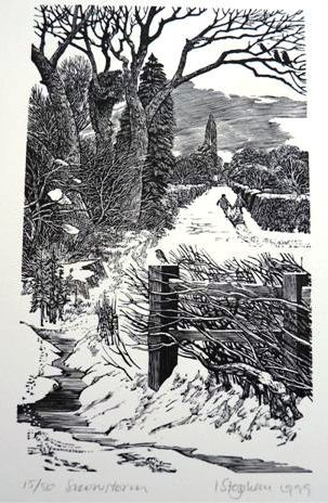 'Snowstorm' (1999) wood engraving by contemporary wood engraver and printmaking artist Ian Stephens (1940). One of the U.K.'s finest wood engravers.