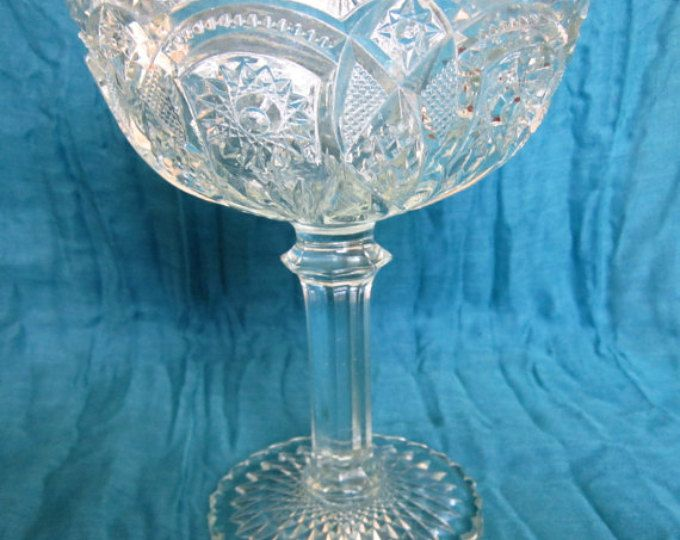 SALE!!  Antique Cut Glass Pedestal Vase or Compote - possibly EAPG or ABP - See Coupon Code in Shop Banner for Discount!