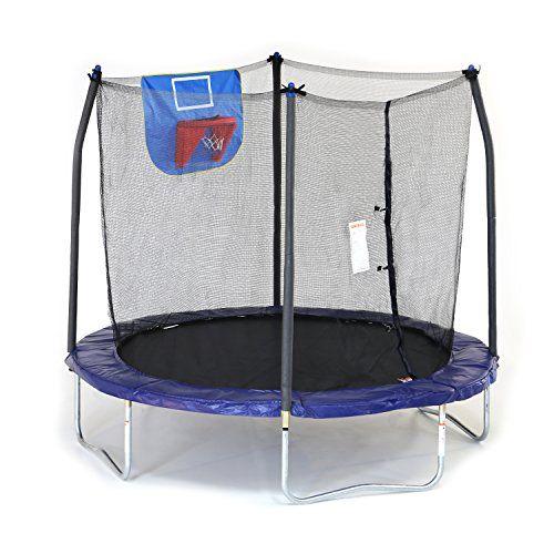 Skywalker Trampolines Jump N Dunk Trampoline with Safety Enclosure and Basketball Hoop Blue 8-Feet