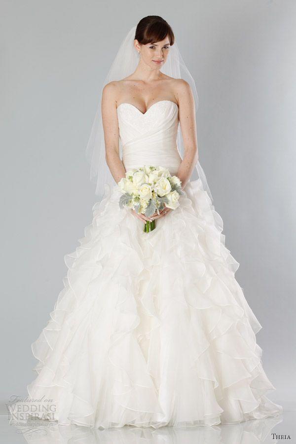 theia wedding dresses fall 2013 strapless gown ruffle skirt sweetheart neckline
